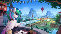 Size: 2520x1420 | Tagged: safe, artist:yakovlev-vad, character:princess celestia, species:alicorn, species:pony, g4, alcohol, alternate cutie mark, background pony, balcony, bird, canterlot, cute, cutelestia, female, horses doing horse things, hot air balloon, inkwell, mare, mountain, mountain range, quill pen, scenery, scenery porn, smiling, solo focus, tent, tents, town, wallpaper, window, wine, young celestia
