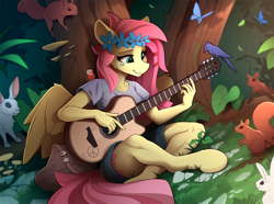 Size: 2350x1744 | Tagged: safe, artist:yakovlev-vad, character:fluttershy, species:anthro, species:pegasus, species:pony, species:rabbit, species:unguligrade anthro, animal, bird, butterfly, clothing, crossed legs, cute, female, flower, flower in hair, guitar, hippie, hippieshy, mare, musical instrument, playing, scenery, shirt, shorts, shyabetes, sitting, solo, squirrel, t-shirt, tree