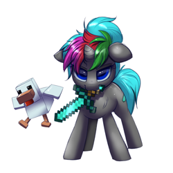 Size: 2000x2000 | Tagged: safe, artist:ravensunart, oc, oc only, oc:diamond sharp, species:chicken, species:pony, species:unicorn, g4, bird, crossover, female, floppy ears, mare, minecraft, mouth hold, ponytail, simple background, solo, sword, video game, weapon, white background