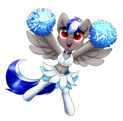 Size: 1705x1681 | Tagged: safe, artist:ravensunart, oc, oc:bassy, species:pegasus, species:pony, g4, american football, belly button, bikini, bikini top, boots, carolina panthers, cheering, cheerleader, chest fluff, choker, clothing, collar, crossdressing, cute, ear fluff, excited, femboy, football, male, midriff, nfl, ocbetes, pom pom, shoes, simple background, skirt, socks, solo, sports, stockings, swimsuit, thigh highs, transparent background