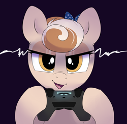 Size: 2030x2000 | Tagged: safe, artist:ravensunart, oc, oc:cinnamon spangled, species:earth pony, species:pony, g4, controller, female, mare, playstation, playstation 4, simple background, smug, solo, video game