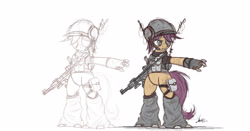 Size: 2500x1310 | Tagged: safe, artist:ncmares, character:scootaloo, species:pegasus, species:pony, fanfic:night mares, g4, augmented, bipedal, clothing, colt m4 carbine, cyborg, female, filly, gun, helmet, hooves, rifle, simple background, solo, teeth, weapon, white background