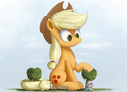 Size: 3000x2185   Tagged: safe, artist:ncmares, character:applejack, character:rainbow dash, species:pony, apple, apple tree, big-apple-pony, clothing, cute, fence, giant pony, giantess, hat, macro, ncmares is trying to murder us, size difference, smoldash, tree