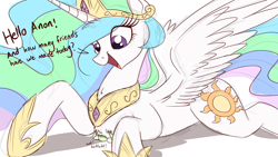 Size: 1500x844 | Tagged: safe, artist:ncmares, character:princess celestia, oc, oc:anon, species:alicorn, species:human, species:pony, g4, chest fluff, cute, cutelestia, dialogue, female, giant pony, giantlestia, glomp, macro, make some friends, male, mare, open mouth, prone, simple background, smiling, spread wings, white background, wings