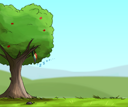 Size: 2000x1675   Tagged: safe, artist:ncmares, character:rainbow dash, species:pegasus, species:pony, apple tree, big-apple-pony, female, mare, sleeping, solo, tree, zzz