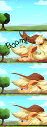 Size: 2500x6816   Tagged: safe, artist:ncmares, character:applejack, character:rainbow dash, species:earth pony, species:pegasus, species:pony, episode:slice of life, g4, my little pony: friendship is magic, :p, apple, apple tree, big-apple-pony, blep, clothing, comic, cowboy hat, dialogue, faceplant, falling, female, food, giant pony, hat, lidded eyes, looking down, macro, mare, pillow, pomf, silly, snorting, stetson, surprised, tongue out, tree