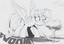 Size: 2000x1365 | Tagged: source needed, useless source url, safe, artist:ncmares, character:twilight sparkle, character:twilight sparkle (alicorn), oc, oc:anon, species:alicorn, species:human, species:pony, g4, cheek fluff, chest fluff, dialogue, ear fluff, female, giant pony, grayscale, growth, macro, mare, mega twilight sparkle, monochrome, onomatopoeia, simple background, spread wings, text, tree, white background, wings
