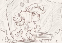 Size: 1200x834   Tagged: safe, artist:ncmares, character:applejack, species:earth pony, species:pony, apple, apple tree, bucket, clothing, cowboy hat, female, food, hat, looking back, mare, monochrome, muddy hooves, pencil drawing, sketch, solo, tail bun, traditional art, tree