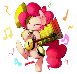 Size: 1970x1895 | Tagged: safe, artist:maren, character:pinkie pie, species:earth pony, species:pony, episode:swarm of the century, g4, my little pony: friendship is magic, accordion, banjo, bipedal, cute, cymbals, diapinkes, eyes closed, female, harmonica, mare, music notes, musical instrument, one man band, playing, puffy cheeks, simple background, solo, sousaphone, tambourine, transparent background