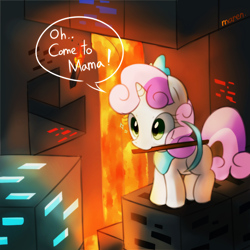 Size: 1500x1500 | Tagged: safe, artist:maren, character:sweetie belle, g4, chibi, crossover, cute, diamond, eyes on the prize, game, lava, minecraft, mouth hold, pickaxe, pixiv, smiling, solo, video game