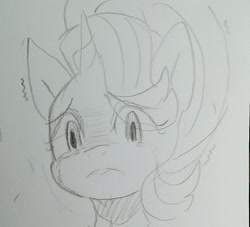 Size: 998x905 | Tagged: safe, artist:maren, character:starlight glimmer, species:pony, species:unicorn, bust, crying, doodle, frown, monochrome, portrait, shivering, solo, traditional art