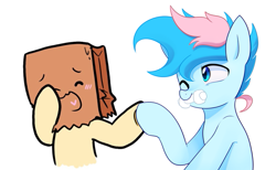 Size: 679x418 | Tagged: safe, artist:maren, artist:paperbagpony, oc, oc:blue chewings, oc:paper bag, species:earth pony, species:pony, collaboration, holding hooves