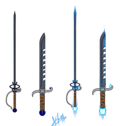 Size: 1280x1338 | Tagged: safe, artist:skydreams, oc, oc:queen lahmia, g4, glow, leather, leather straps, magic, no pony, rapier, runes, sapphire, sword, sword breaker, weapon