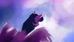 Size: 1920x1080 | Tagged: safe, artist:hierozaki, character:twilight sparkle, species:alicorn, species:pony, g4, eyes closed, female, mare, sky, solo, stars