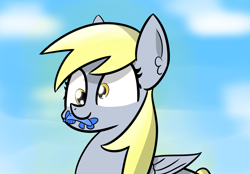 Size: 2855x1986 | Tagged: safe, artist:artiks, character:derpy hooves, species:pegasus, species:pony, dead, female, fish, mare, mouth hold, simple background, solo, x eyes