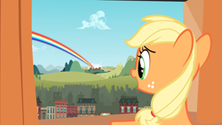 Size: 2880x1620 | Tagged: safe, screencap, character:applejack, species:earth pony, species:pony, episode:the cutie mark chronicles, g4, my little pony: friendship is magic, building, cloud, female, filly, filly applejack, foal, hill, manehattan, open mouth, ponyville, rainbow, solo, younger