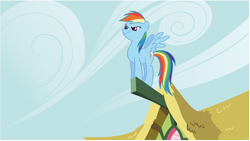 Size: 8022x4537 | Tagged: safe, artist:diftraku, screencap, character:rainbow dash, species:pegasus, species:pony, episode:the ticket master, g4, my little pony: friendship is magic, absurd resolution, adobe illustrator, adobe imageready, cloud, cloudy, female, mare, perch, sky, solo, vector, wallpaper