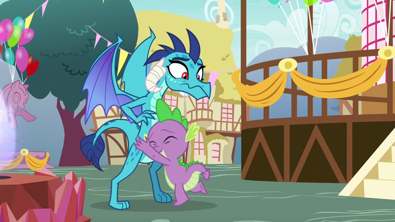 1805647 - safe, screencap, character:princess ember, character:spike, species:dragon, episode:triple threat, g4, my little pony: friendship is magic, dragoness, eyes closed, female, hape, hug, male, shocked, smiling, surprised, wavy mouth - Manebooru