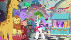 Size: 1920x1080 | Tagged: safe, screencap, character:princess celestia, species:pony, episode:between dark and dawn, g4, my little pony: friendship is magic, alternate hairstyle, barehoof, childish, clothing, excited, fao schwarz, female, folded wings, hawaiian shirt, looking up, manehattan, mare, open mouth, piano mat, plushie, shirt, solo, toy, toy store, vacation, wide eyes, wings
