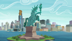 Size: 2880x1620 | Tagged: safe, screencap, episode:the gift of the maud pie, g4, my little pony: friendship is magic, city, cityscape, crystaller building, friendship island, island, manehattan, no pony, pier, piers, scenery, skyscraper, stadium, statue, statue of friendship