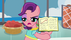 Size: 1920x1080 | Tagged: safe, screencap, character:spoiled rich, species:earth pony, species:pony, episode:a horse shoe-in, g4, my little pony: friendship is magic, arrogant, bags under eyes, ball, basket, book, clothing, eyeshadow, female, gym, hair flip, hoof hold, makeup, mare, narrowed eyes, raised eyebrow, solo, talking