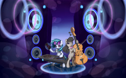 Size: 8000x5000 | Tagged: safe, artist:inowiseei, character:octavia melody, character:vinyl scratch, species:earth pony, species:pony, species:unicorn, absurd resolution, bipedal, bowtie, cello, cello bow, duo, headphones, looking at you, musical instrument, playing instrument, record, speakers, sunglasses, turntable, wallpaper