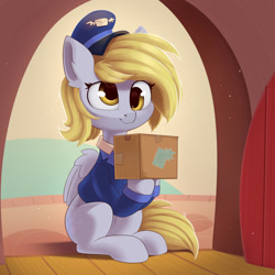 Size: 1200x1200 | Tagged: safe, artist:anti1mozg, character:derpy hooves, species:pegasus, species:pony, episode:unboxing day, g4, g4.5, my little pony: pony life, my little pony:pony life, spoiler:pony life s01e30, box, cardboard box, clothing, cute, delivery, delivery pony, derpabetes, female, g4.5 to g4, hat, mailmare, mailmare hat, mare, scene interpretation, smiling, solo