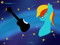 Size: 1024x768 | Tagged: safe, artist:th3bluerose, oc, oc:4everfreebrony, species:earth pony, species:pony, abstract background, base used, bust, eyes closed, gift art, glasses, guitar, lineless, male, minimalist, modern art, musical instrument, musician, portrait, present, solo, stallion, youtuber