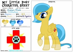 Size: 1024x724 | Tagged: safe, artist:th3bluerose, base used, oc, oc:ocean shore, species:pegasus, species:pony, g4, color palette, cutie mark, freckles, paw prints, pegasus oc, reference sheet, wings