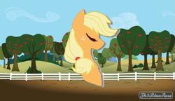 Size: 711x410   Tagged: safe, artist:th3bluerose, character:applejack, species:pony, apple, apple tree, base used, eyes closed, fence, food, minimalist, modern art, th3bluerose's minimalist collection, tree