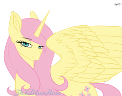 Size: 1021x805 | Tagged: safe, artist:minelvi, artist:th3bluerose, character:fluttershy, species:alicorn, species:pony, alicornified, collaboration, colored, female, fluttercorn, lidded eyes, lineart re-colour, mare, race swap, simple background, solo, transparent background