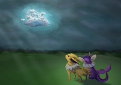 Size: 1280x905 | Tagged: safe, artist:moonlightfan, character:sassaflash, character:sea swirl, fanfic:rain and lightning, fanfic:twilight sparkle is an espeon now, g4, cloudsdale, crossover, fanfic art, fanfic cover, jolteon, link in description, pokémon, transformed, vaporeon