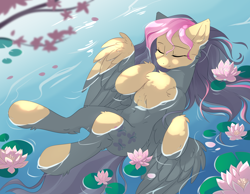 Size: 3600x2800 | Tagged: safe, artist:dreamweaverpony, character:fluttershy, species:pegasus, species:pony, belly, belly button, cheek fluff, chest fluff, cute, ear fluff, eyes closed, female, floating, flower, fluffy, high res, hoof fluff, hooves to the chest, in water, leg fluff, lilypad, mare, on back, outdoors, partially submerged, peaceful, shoulder fluff, shyabetes, smiling, solo, spread wings, stray strand, three quarter view, water, water lily, wings