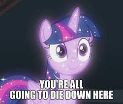 Size: 1286x1080   Tagged: safe, edit, edited screencap, screencap, character:tree of harmony, character:treelight sparkle, character:twilight sparkle, episode:what lies beneath, g4, my little pony: friendship is magic, caption, cropped, image macro, implied death, meme, quote, red queen, resident evil, solo, text, tree of harmony, treelight sparkle