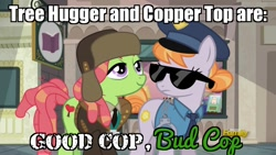 Size: 1280x720 | Tagged: safe, edit, edited screencap, screencap, character:copper top, character:tree hugger, species:earth pony, species:pony, caption, female, good cop bad cop, image macro, implied marijuana, manehattan, parody, police uniform, text, this will end in jail time, tv show