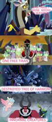 Size: 900x2100   Tagged: safe, edit, edited screencap, screencap, character:apple bloom, character:big mcintosh, character:bon bon, character:cozy glow, character:discord, character:granny smith, character:king sombra, character:lord tirek, character:mayor mare, character:queen chrysalis, character:scootaloo, character:spike, character:starlight glimmer, character:sweetie belle, character:sweetie drops, character:tree of harmony, species:alicorn, species:changeling, species:dragon, species:pegasus, species:pony, episode:the beginning of the end, episode:the ending of the end, g4, my little pony: friendship is magic, leak, changeling queen, cozycorn, crazy glow, crazycorn, cutie mark crusaders, engrish, female, glowing eyes, insanity, mind control, race swap, sombrafied, tree of harmony, ultimate chrysalis, winged spike
