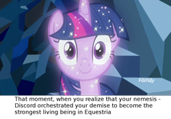 Size: 1280x897   Tagged: safe, edit, edited screencap, screencap, character:tree of harmony, character:treelight sparkle, character:twilight sparkle, species:pony, episode:the ending of the end, episode:what lies beneath, g4, my little pony: friendship is magic, leak, caption, critical research failure, headcanon, implied discord, solo, tree of harmony, treelight sparkle