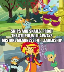Size: 500x562 | Tagged: safe, edit, edited screencap, screencap, character:snails, character:snips, character:sunset shimmer, character:trixie, species:pony, species:unicorn, episode:magic duel, equestria girls:equestria girls, g4, my little pony: equestria girls, my little pony: friendship is magic, my little pony:equestria girls, caption, gym, image macro, magic, magic aura, streamers, text