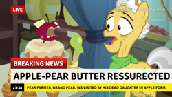 Size: 1280x720 | Tagged: safe, edit, edited screencap, screencap, character:grand pear, species:earth pony, species:pony, episode:the big mac question, g4, my little pony: friendship is magic, apple, break your own news, breaking news, cake, cupcake, food, male, misspelling, solo, stallion