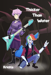 Size: 1937x2850 | Tagged: safe, artist:adgerelli, artist:pasu-chan, character:fluttershy, character:rainbow dash, fanfic:thicker than water, series:who we become, alternate hairstyle, collaboration, commission, devil horn (gesture), female, females only, flutterpunk, guitar, kneeling, punk, rainbowpunk, short hair, standing