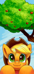 Size: 1242x2688 | Tagged: safe, artist:tsitra360, character:applejack, species:earth pony, species:pony, apple, apple tree, clothing, cowboy hat, cute, digital art, female, hat, jackabetes, mare, ponified, smiling, solo, stetson, tree