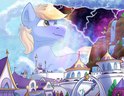 Size: 2500x1949 | Tagged: safe, artist:tsitra360, oc, oc only, oc:pan sizzle, oc:ribbon step, oc:snap feather, oc:star bright, species:pony, airship, building, canterlot, castle, cloudsdale, cosmic wizard, crepuscular rays, giant pony, giant unicorn, giga giant, impending disaster, macro, magic, male, reality, smiling, space, stallion, tree, waterfall, wizard