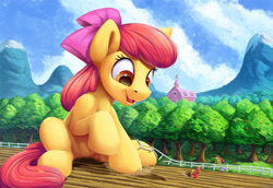 Size: 3000x2063 | Tagged: safe, artist:tsitra360, character:apple bloom, character:applejack, character:big mcintosh, character:scootaloo, character:sweetie belle, species:earth pony, species:pegasus, species:pony, species:unicorn, adorabloom, alternate version, apple, apple tree, applebutt, brother and sister, butt, cute, cutie mark crusaders, female, fence, filly, giant earth pony, giant pony, high res, macro, male, open mouth, scenery, siblings, sisters, sitting, smiling, stallion, sweet apple acres, tree