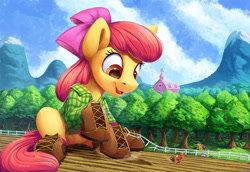 Size: 3000x2063 | Tagged: safe, artist:tsitra360, character:apple bloom, character:applejack, character:big mcintosh, character:scootaloo, character:sweetie belle, species:earth pony, species:pegasus, species:pony, species:unicorn, adorabloom, apple, apple tree, applebutt, boots, brother and sister, butt, clothing, cute, cutie mark crusaders, female, fence, filly, flannel, giant earth pony, giant pony, high res, macro, male, open mouth, scenery, shirt, shoes, siblings, sisters, sitting, smiling, stallion, sweet apple acres, tree