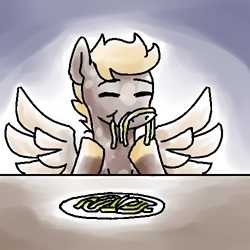 Size: 500x500 | Tagged: safe, artist:rawrienstein, oc, oc only, oc:amber glow, species:pegasus, species:pony, series:who we become, g4, dappled, eating, pasta