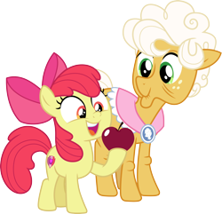 Size: 3112x3000 | Tagged: safe, artist:cloudyglow, artist:parclytaxel, character:apple bloom, character:goldie delicious, species:earth pony, species:pony, episode:going to seed, g4, my little pony: friendship is magic, .svg available, apple, female, filly, food, high res, hoof hold, mare, simple background, smiling, transparent background, vector