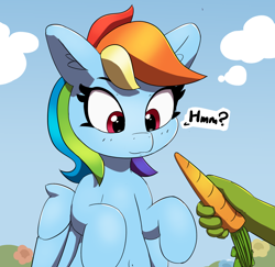 Size: 1880x1830   Tagged: safe, artist:pabbley, character:rainbow dash, oc, oc:anon, species:pegasus, species:pony, carrot, cute, dashabetes, disembodied hand, ear fluff, food, hand, offscreen character, offscreen human, part of a set