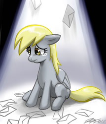 Size: 660x766 | Tagged: safe, artist:johnjoseco, character:derpy hooves, species:pegasus, species:pony, ;-;, crying, cute, daaaaaaaaaaaw, derpabetes, envelope, female, floppy ears, get, index get, letter, looking down, mail, mare, photoshop, sad, sadorable, save derpy, sitting, solo, spotlight, teary eyes