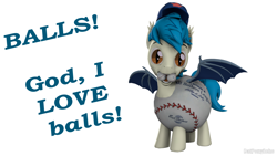 Size: 1280x720 | Tagged: safe, artist:batponyecho, oc, oc only, oc:moonshot, species:bat pony, species:pony, g4, 3d, baseball, baseball cap, bat pony oc, bat wings, cap, clothing, costume, fangs, hat, male, mouth hold, open mouth, simple background, solo, source filmmaker, sports, spread wings, stallion, tail, text, white background, wings