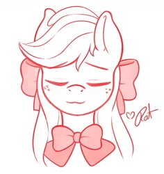 Size: 1357x1437   Tagged: safe, artist:ratofdrawn, character:applejack, species:earth pony, species:pony, :3, alternate hairstyle, blushing, bow, bowtie, bust, cute, eyes closed, female, hair bow, jackabetes, loose hair, mare, partial color, portrait, simple background, smiling, solo, white background